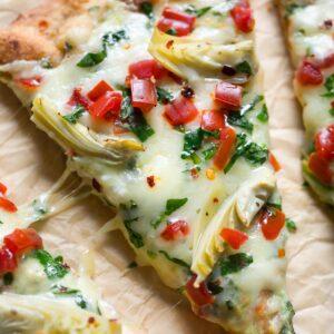Cheesy Spinach Artichoke Flatbread Pizza