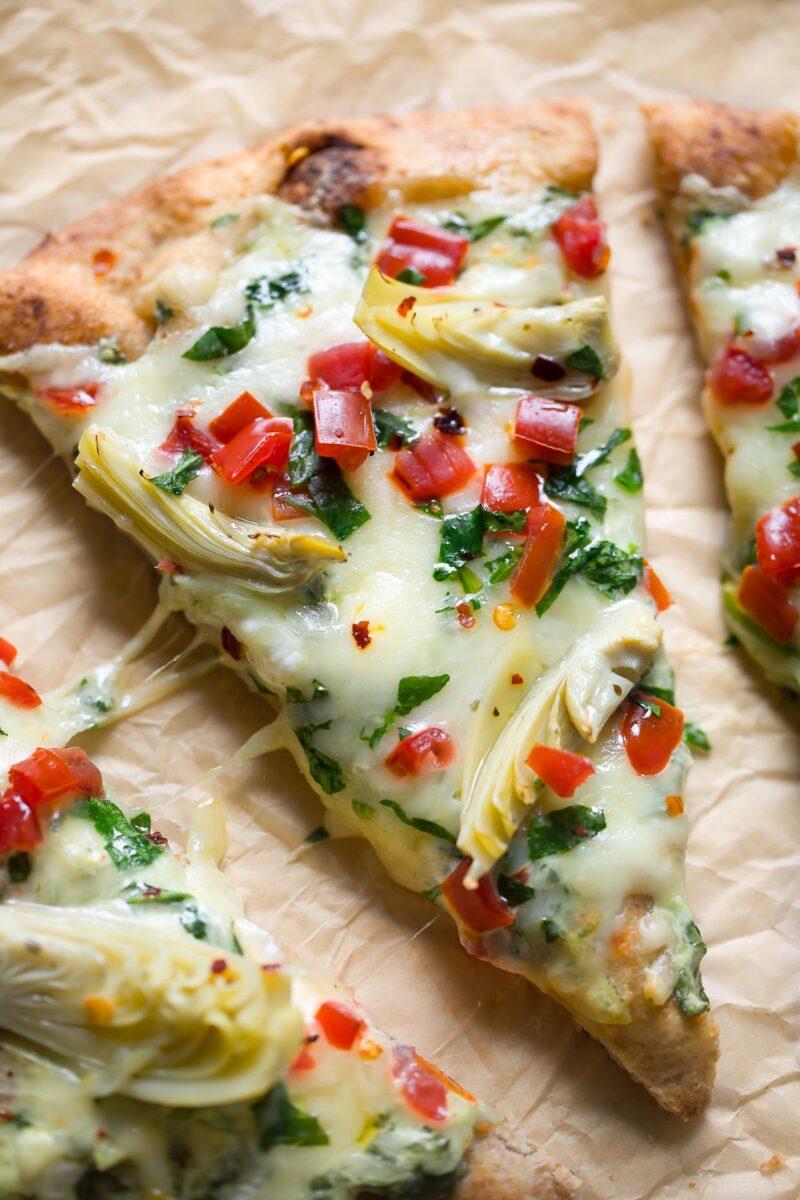 Spinach Artichoke Dip Flatbread Pizza with Tomatoes